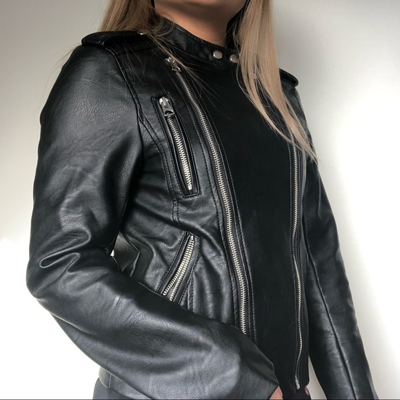 H&M Jackets & Blazers - H&M Black Leather Biker Jacket